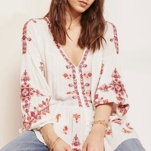 NWT Free People Arianna Embroidered Tunic Top